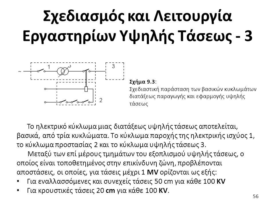 Σχεδιασμός και Λειτουργία Εργαστηρίων Υψηλής Τάσεως - 3 56 Σχήμα 9.3: Σχεδιαστική παράσταση των βασικών κυκλωμάτων διατάξεως παραγωγής και εφαρμογής υψηλής τάσεως Το ηλεκτρικό κύκλωμα μιας διατάξεως υψηλής τάσεως αποτελείται, βασικά, από τρία κυκλώματα.