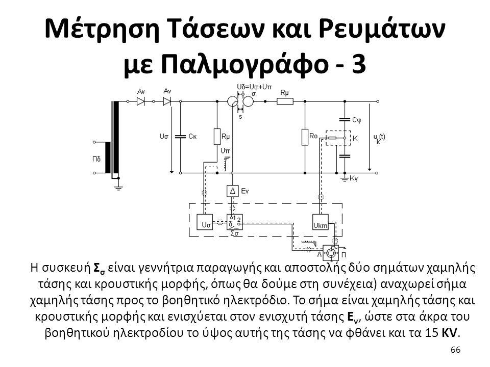 Μέτρηση Τάσεων και Ρευμάτων με Παλμογράφο - 3 66 Η συσκευή Σ σ είναι γεννήτρια παραγωγής και αποστολής δύο σημάτων χαμηλής τάσης και κρουστικής μορφής, όπως θα δούμε στη συνέχεια) αναχωρεί σήμα χαμηλής τάσης προς το βοηθητικό ηλεκτρόδιο.