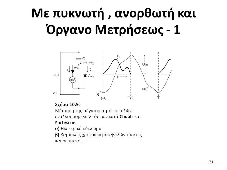 Με πυκνωτή, ανορθωτή και Όργανο Μετρήσεως - 1 71 Σχήμα 10.9: Μέτρηση της μέγιστης τιμής υψηλών εναλλασσομένων τάσεων κατά Chubb και Fortescue.