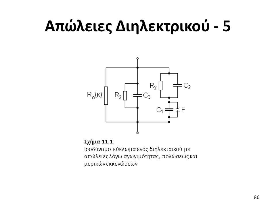 Απώλειες Διηλεκτρικού - 5 86 Σχήμα 11.1: Ισοδύναμο κύκλωμα ενός διηλεκτρικού με απώλειες λόγω αγωγιμότητας, πολώσεως και μερικών εκκενώσεων