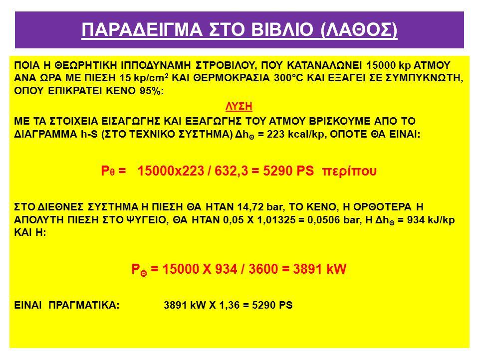 ΠΟΙΑ Η ΘΕΩΡΗΤΙΚΗ ΙΠΠΟΔΥΝΑΜΗ ΣΤΡΟΒΙΛΟΥ, ΠΟΥ ΚΑΤΑΝΑΛΩΝΕΙ 15000 kp ΑΤΜΟΥ ΑΝΑ ΩΡΑ ΜΕ ΠΙΕΣΗ 15 kp/cm 2 ΚΑΙ ΘΕΡΜΟΚΡΑΣΙΑ 300°C ΚΑΙ ΕΞΑΓΕΙ ΣΕ ΣΥΜΠΥΚΝΩΤΗ, ΟΠΟΥ ΕΠΙΚΡΑΤΕΙ ΚΕΝΟ 95%: ΛΥΣΗ ΜΕ ΤΑ ΣΤΟΙΧΕΙΑ ΕΙΣΑΓΩΓΗΣ ΚΑΙ ΕΞΑΓΩΓΗΣ ΤΟΥ ΑΤΜΟΥ ΒΡΙΣΚΟYΜΕ ΑΠΟ ΤΟ ΔΙΑΓΡΑΜΜΑ h-S (ΣΤΟ ΤΕΧΝΙΚΟ ΣΥΣΤΗΜΑ) Δh Θ = 223 kcal/kp, ΟΠΟΤΕ ΘΑ ΕΙΝΑΙ: Ρ θ = 15000x223 / 632,3 = 5290 ΡS περίπου ΣΤΟ ΔΙΕΘΝΕΣ ΣΥΣΤΗΜΑ Η ΠΙΕΣΗ ΘΑ ΗΤΑΝ 14,72 bar, ΤΟ ΚΕΝΟ, Η ΟΡΘΟΤΕΡΑ Η ΑΠΟΛΥΤΗ ΠΙΕΣΗ ΣΤΟ ΨΥΓΕΙΟ, ΘΑ ΗΤΑΝ 0,05 Χ 1,01325 = 0,0506 bar, Η Δh Θ = 934 kJ/kp ΚΑΙ Η: Ρ Θ = 15000 Χ 934 / 3600 = 3891 kW ΕΙΝΑΙ ΠΡΑΓΜΑΤΙΚΑ: 3891 kW Χ 1,36 = 5290 ΡS ΠΑΡΑΔΕΙΓΜΑ ΣΤΟ ΒΙΒΛΙΟ (ΛΑΘΟΣ)