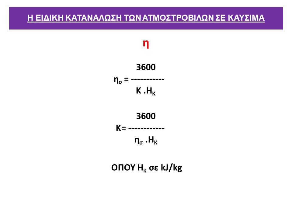 η 3600 η σ = ----------- Κ.Η Κ 3600 Κ= ------------ η σ.Η Κ ΟΠΟΥ Η κ σε kJ/kg Η ΕΙΔΙΚΗ ΚΑΤΑΝΑΛΩΣΗ ΤΩΝ ΑΤΜΟΣΤΡΟΒΙΛΩΝ ΣΕ ΚΑΥΣΙΜΑ