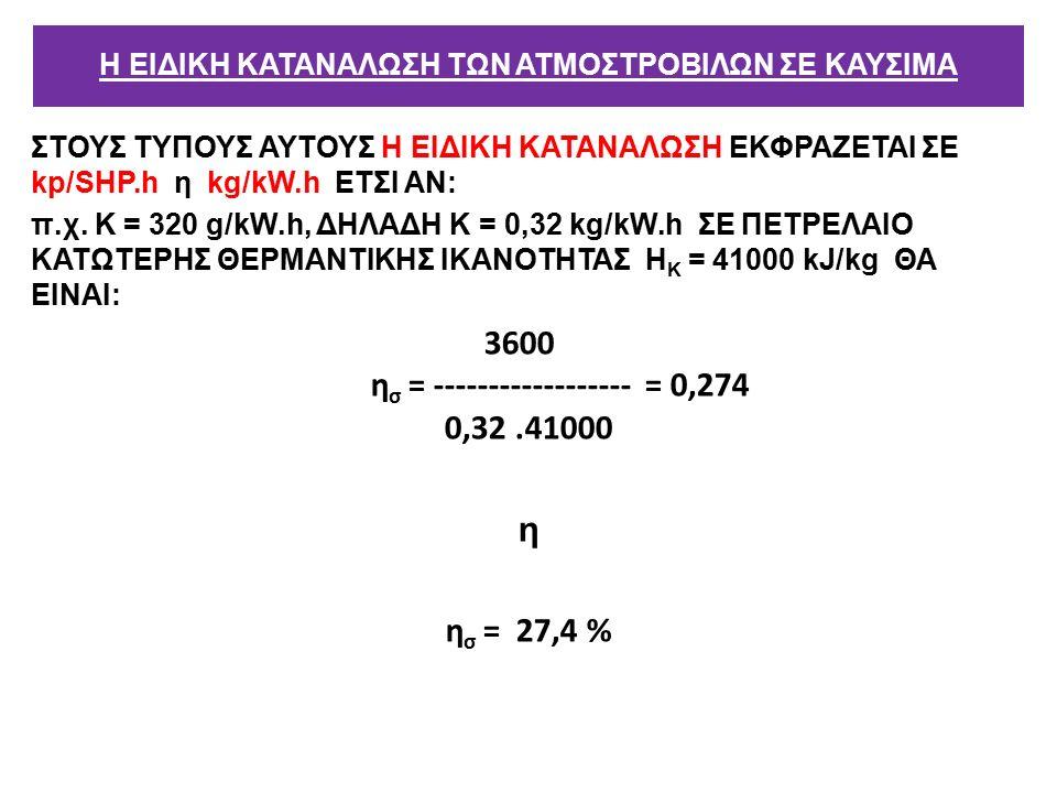 ΣΤΟΥΣ ΤΥΠΟΥΣ ΑΥΤΟΥΣ Η ΕΙΔΙΚΗ ΚΑΤΑΝΑΛΩΣΗ ΕΚΦΡΑΖΕΤΑΙ ΣΕ kp/SΗΡ.h η kg/kW.h ΕΤΣΙ ΑΝ: π.χ.