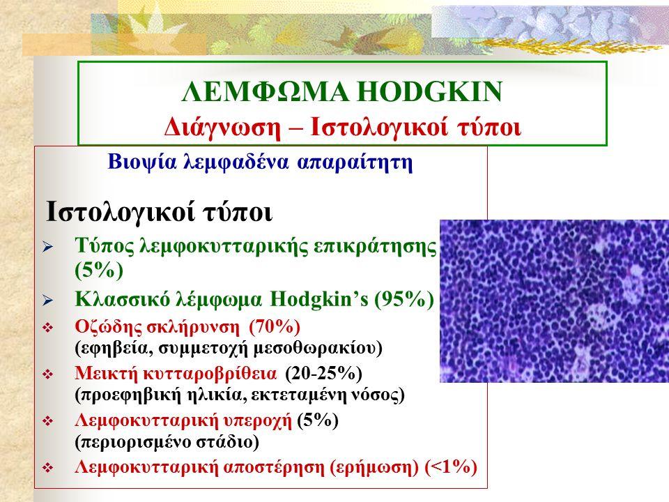 ΛΕΜΦΩΜΑ ΗΟDGKIN Διάγνωση – Ιστολογικοί τύποι Βιοψία λεμφαδένα απαραίτητη Ιστολογικοί τύποι  Τύπος λεμφοκυτταρικής επικράτησης (5%)  Κλασσικό λέμφωμα