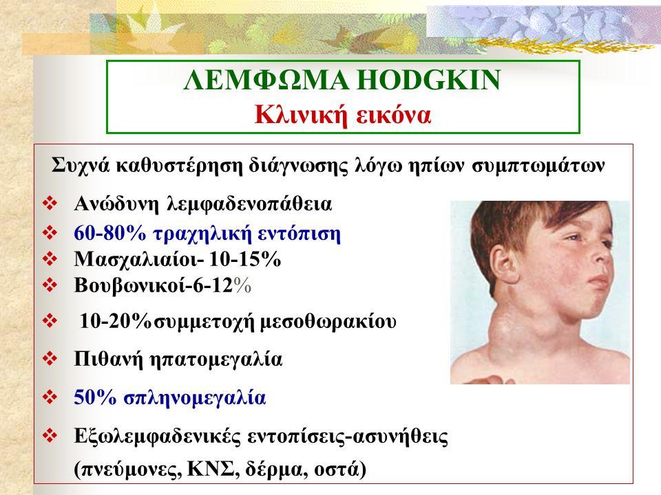 ΛΕΜΦΩΜΑ ΗΟDGKIN Κλινική εικόνα Συχνά καθυστέρηση διάγνωσης λόγω ηπίων συμπτωμάτων  Ανώδυνη λεμφαδενοπάθεια  60-80% τραχηλική εντόπιση  Μασχαλιαίοι-