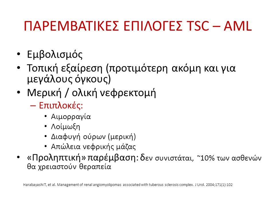 ΠΑΡΕΜΒΑΤΙΚΕΣ ΕΠΙΛΟΓΕΣ TSC – AML Εμβολισμός Τοπική εξαίρεση (προτιμότερη ακόμη και για μεγάλους όγκους) Μερική / ολική νεφρεκτομή – Επιπλοκές: Αιμορραγ