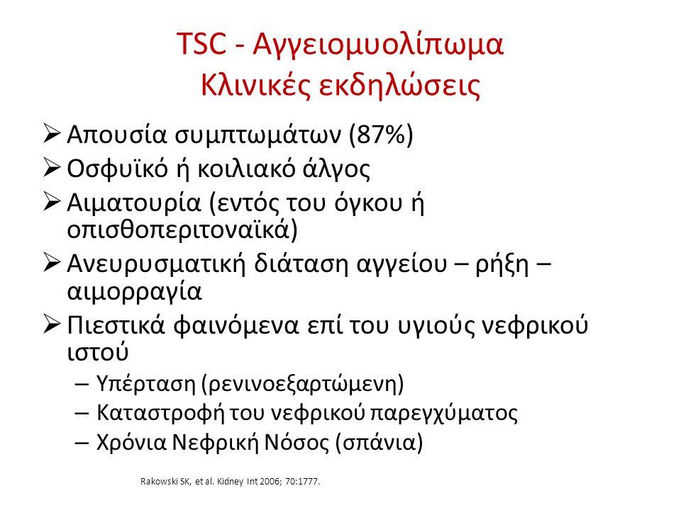 TSC - Αγγειομυολίπωμα Κλινικές εκδηλώσεις  Απουσία συμπτωμάτων (87%)  Οσφυϊκό ή κοιλιακό άλγος  Αιματουρία (εντός του όγκου ή οπισθοπεριτοναϊκά) 