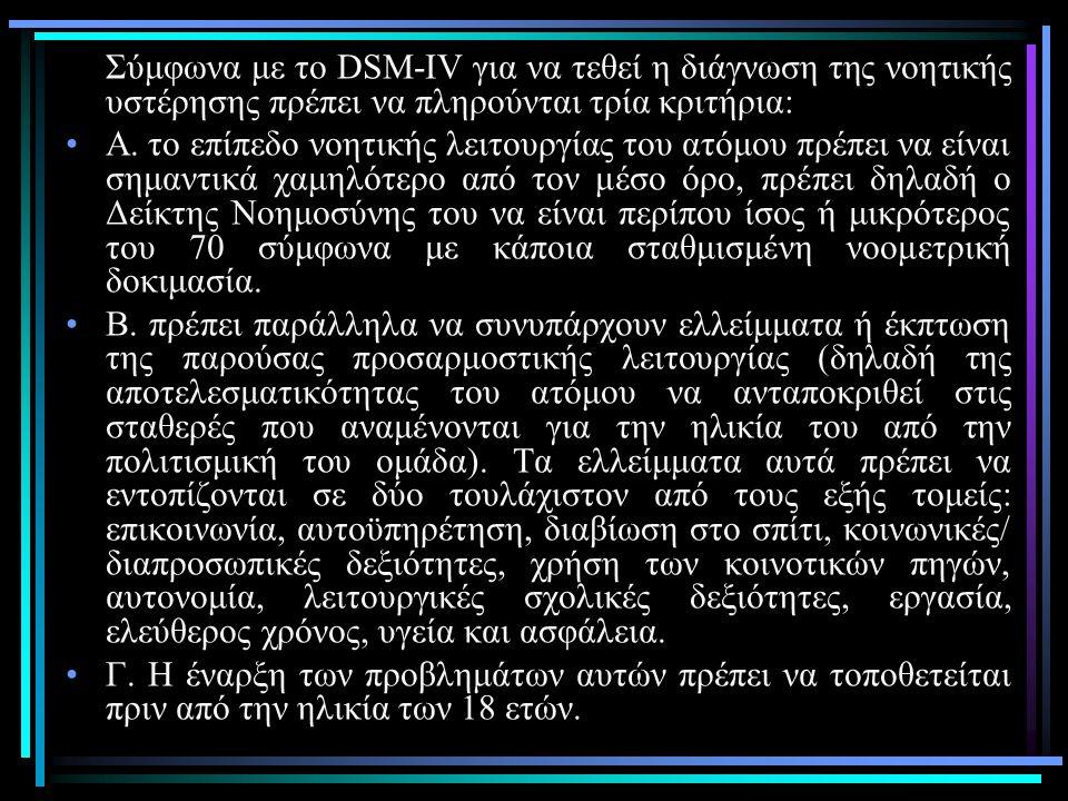 Σύμφωνα με το DSM-IV για να τεθεί η διάγνωση της νοητικής υστέρησης πρέπει να πληρούνται τρία κριτήρια: Α.