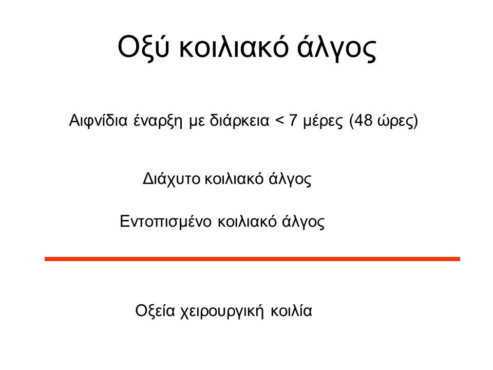 Οξύ κοιλιακό άλγος Αιφνίδια έναρξη με διάρκεια < 7 μέρες (48 ώρες) Οξεία χειρουργική κοιλία Διάχυτο κοιλιακό άλγος Εντοπισμένο κοιλιακό άλγος