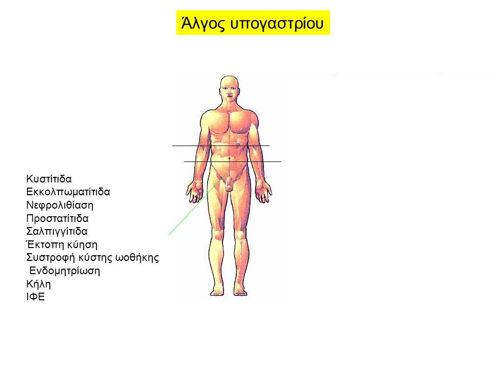 Κυστίτιδα Εκκολπωματίτιδα Νεφρολιθίαση Προστατίτιδα Σαλπιγγίτιδα Έκτοπη κύηση Συστροφή κύστης ωοθήκης Ενδομητρίωση Κήλη ΙΦΕ Άλγος υπογαστρίου