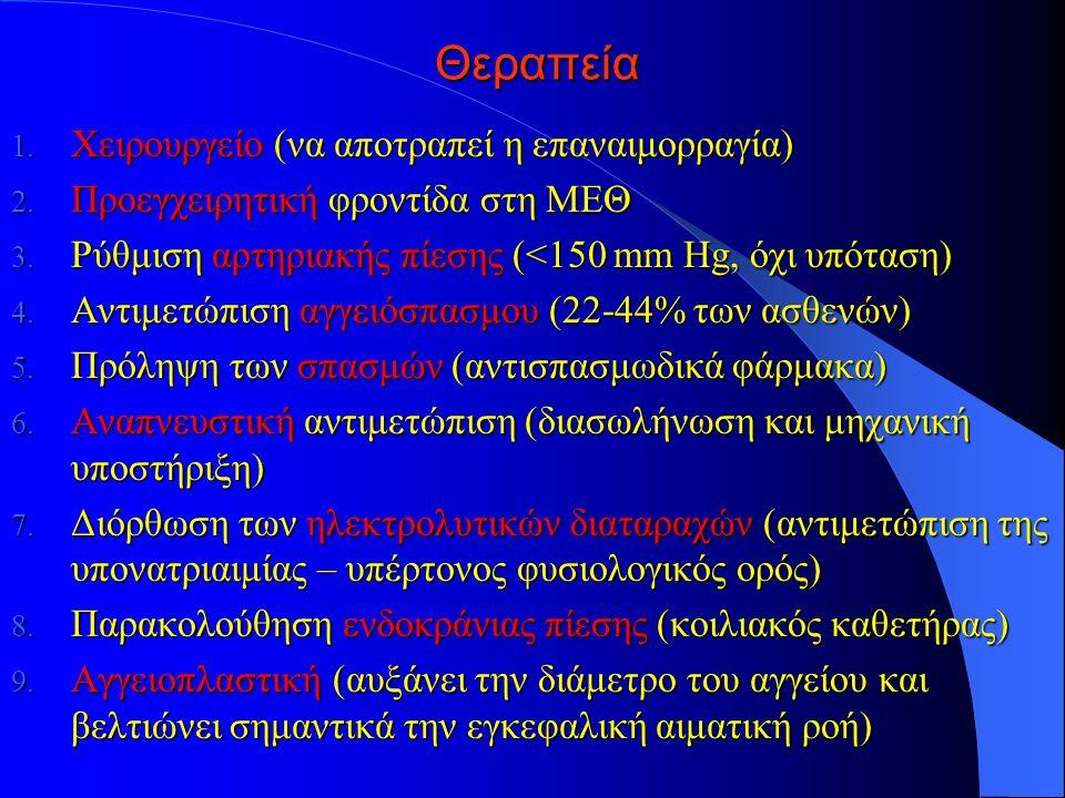 Θεραπεία 1.Χειρουργείο (να αποτραπεί η επαναιμορραγία) 2.