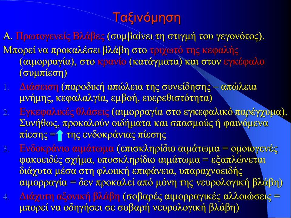 Ταξινόμηση Α. Πρωτογενείς Βλάβες (συμβαίνει τη στιγμή του γεγονότος).