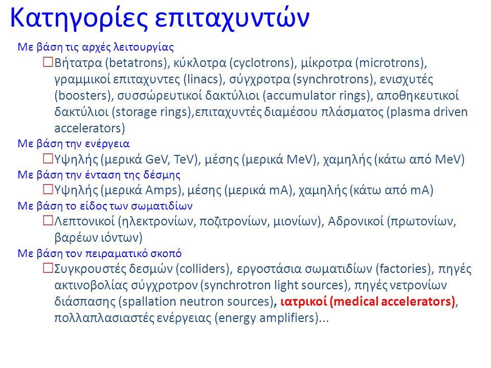 Συμπλέγματα επιταχυντών Επιταχυντές υψηλών ενεργειών  Αδρονικοί συγκρουστές δεσμών (TeVatron, RHIC, HERA, LHC, VLHC)  Λεπτονικοί συγκρουστές δεσμών (LEP,CESR, PEPII, KEKB, DAFNE, ILS, CLIC) Συσσωρευτές και σύγχροτρα υψηλής ένστασης  Πηγές νετρονίων κατα διάσπαση (ISIS, SNS, ESS, JAERI)  Εργοστάσια παραγωγής νετρίνων (Neutrino factories)  Πολλαπλασιαστές ενέργειας, εγκαταστάσεις απενεργοποίησης πυρηνικών αποβλήτων (JAERI) Πηγές ακτινοβολίας σύγχροτρον  Πρώτης γενιάς (PETRA, SPEAR)  Δεύτερης γενιάς (BESSY Ι, SPEAR ΙI, NSLS)  Τρίτης γενιάς (ESRF, APS, SPRING-8, SLS, SOLEIL, DIAMOND, ALBA)  Τέταρτης γενιάς – Laser ελευθέρων ηλεκτρονίων (FEL – TESLA, LCLS) Επιταχυντές εφαρμογών  Ιατρικοί επιταχυντές (LLUMC, MEDAUSTRON, HICAT, PSI, TERA)  Βιομηχανικοί επιταχυντές (CAT, Rhodotrons, VARIAN, ACSION)