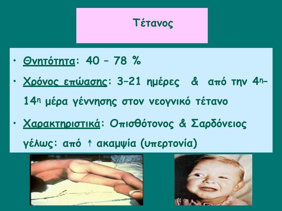 Tέτανος Θνητότητα: 40 – 78 % Χρόνος επώασης: 3–21 ημέρες&από την 4 η – 14 η μέρα γέννησης στον νεογνικό τέτανο Χαρακτηριστικά: Οπισθότονος & Σαρδόνειος γέλως: από ↟ ακαμψία (υπερτονία)
