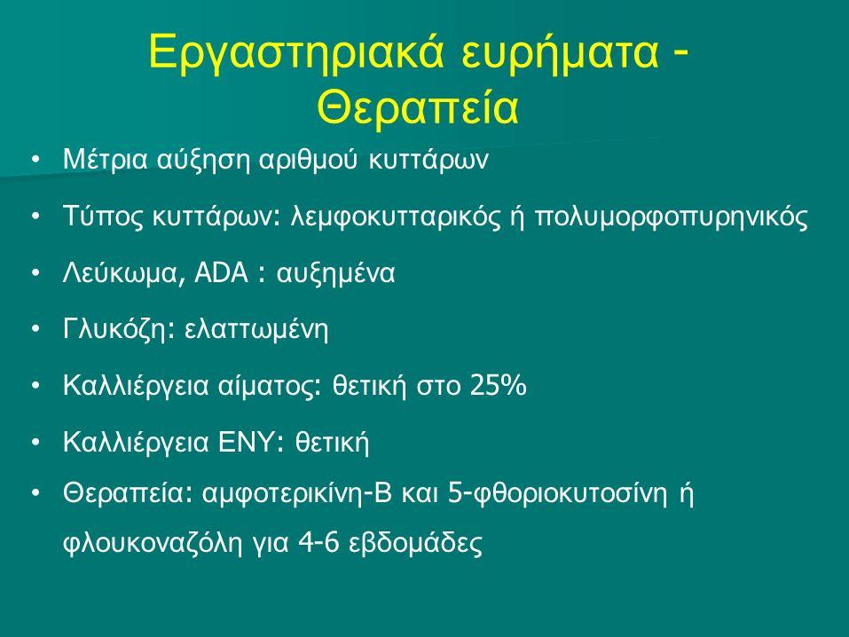 Εργαστηριακά ευρήματα - Θεραπεία Μέτρια αύξηση αριθμού κυττάρων Τύπος κυττάρων : λεμφοκυτταρικός ή πολυμορφοπυρηνικός Λεύκωμα, ADA : αυξημένα Γλυκόζη : ελαττωμένη Καλλιέργεια αίματος : θετική στο 25% Καλλιέργεια ΕΝΥ : θετική Θεραπεία : αμφοτερικίνη - Β και 5- φθοριοκυτοσίνη ή φλουκοναζόλη για 4-6 εβδομάδες