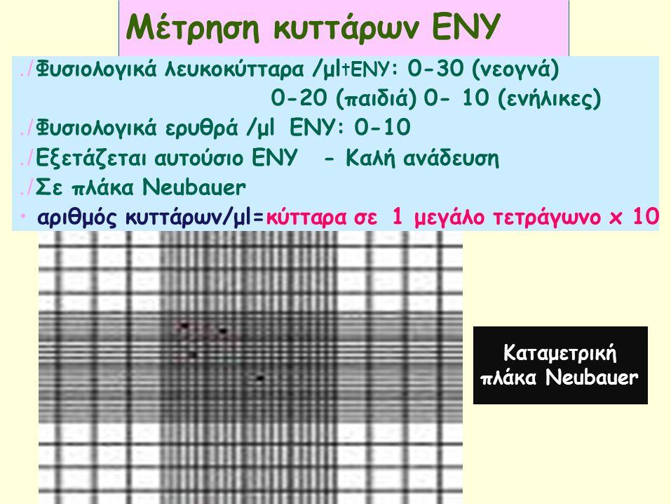 Mέτρηση κυττάρων ΕΝΥ./ Φυσιολογικά λευκοκύτταρα /μl tΕΝΥ : 0-30 (νεογνά) 0-20 (παιδιά) 0- 10 (ενήλικες)./ Φυσιολογικά ερυθρά /μlΕΝΥ: 0-10./ Εξετάζεται αυτούσιο ΕΝΥ- Καλή ανάδευση./ Σε πλάκα Neubauer αριθμός κυττάρων/μl=κύτταρα σε1 μεγάλο τετράγωνο x 10 Καταμετρική πλάκα Neubauer