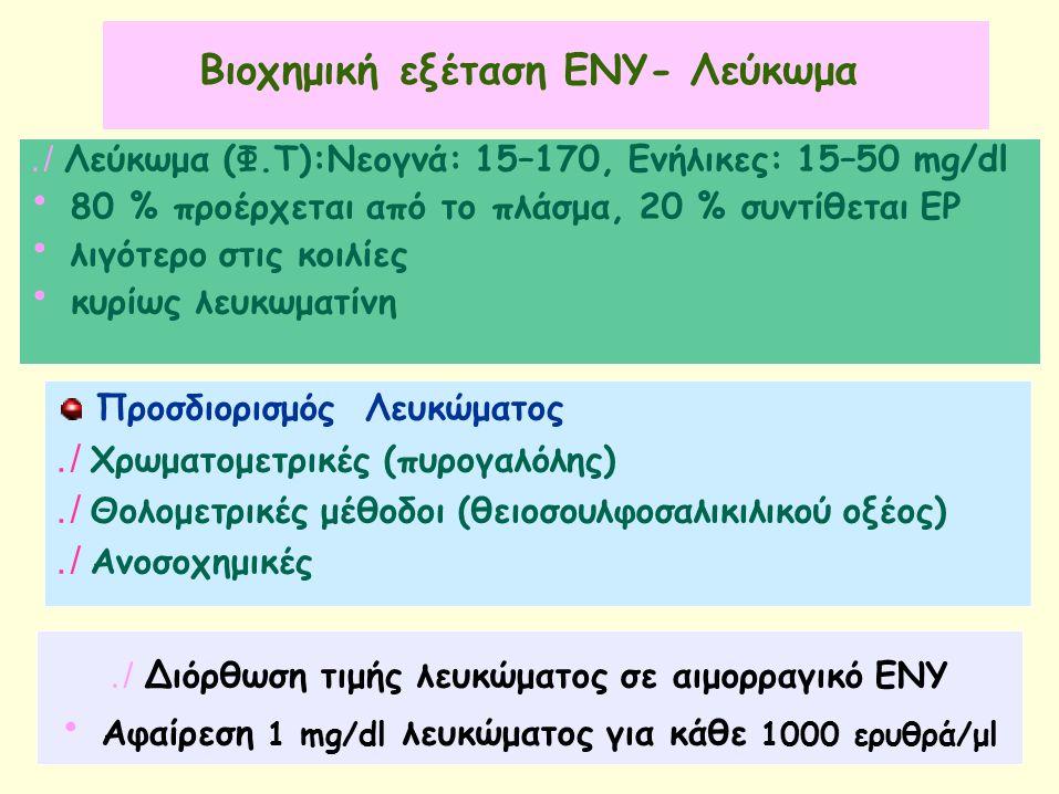 Βιοχημική εξέταση ΕΝΥ- Λεύκωμα./ Λεύκωμα (Φ.Τ):Νεογνά: 15–170, Eνήλικες: 15–50 mg/dl 80 % προέρχεται από το πλάσμα, 20 % συντίθεται ΕΡ λιγότερο στις κοιλίες κυρίως λευκωματίνη ΠροσδιορισμόςΛευκώματος./ Χρωματομετρικές (πυρογαλόλης)./ Θολομετρικές μέθοδοι (θειοσουλφοσαλικιλικού οξέος)./ Ανοσοχημικές./ ∆ιόρθωση τιμής λευκώματος σε αιμορραγικό ΕΝΥ Αφαίρεση 1 mg/dl λευκώματος για κάθε 1000 ερυθρά/μl