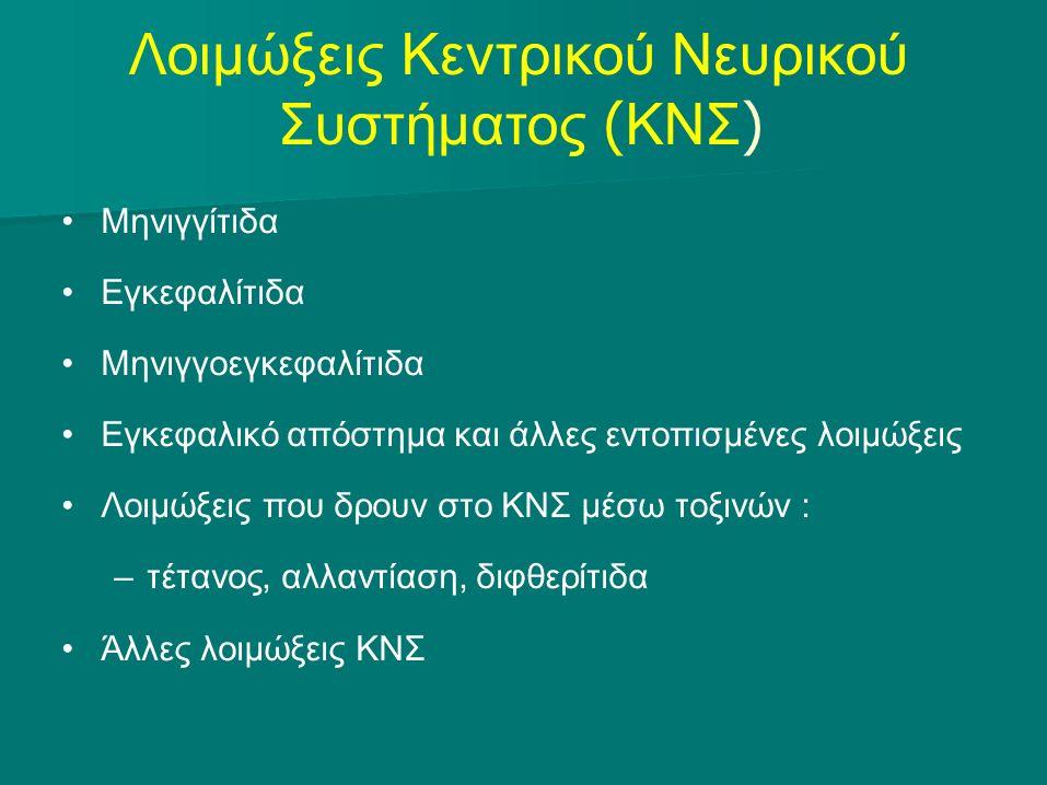 Λοιμώξεις Κεντρικού Νευρικού Συστήματος ( ΚΝΣ ) Μηνιγγίτιδα Εγκεφαλίτιδα Μηνιγγοεγκεφαλίτιδα Εγκεφαλικό απόστημα και άλλες εντοπισμένες λοιμώξεις Λοιμ