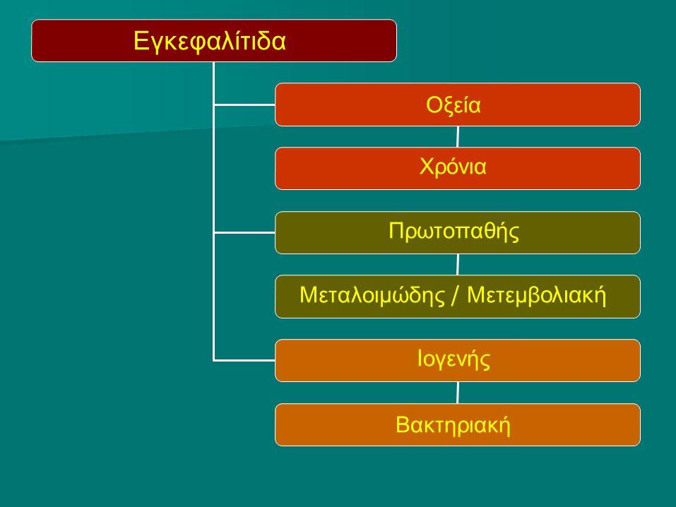 Εγκεφαλίτιδα Οξεία Χρόνια Πρωτοπαθής Μεταλοιμώδης / Μετεμβ ολιακή Ι ογενής Βακτηριακή