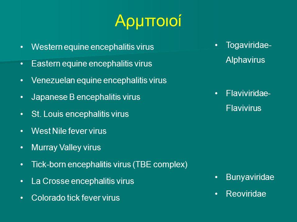 Αρμποιοί Western equine encephalitis virus Eastern equine encephalitis virus Venezuelan equine encephalitis virus Japanese B encephalitis virus St.