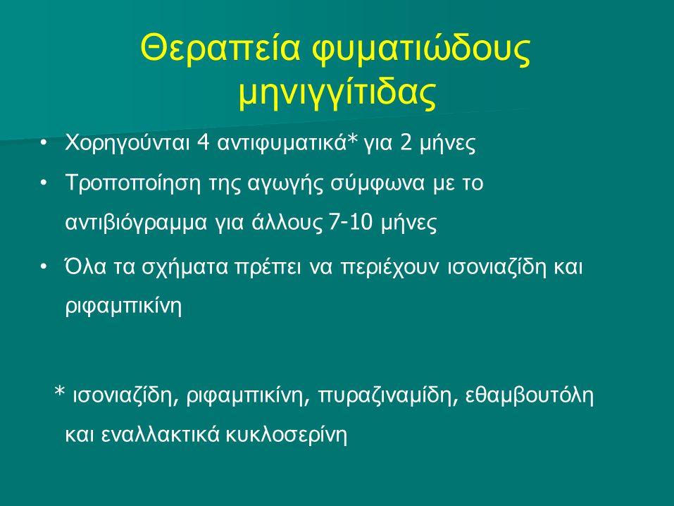 Θεραπεία φυματιώδους μηνιγγίτιδας Χορηγούνται 4 αντιφυματικά * για 2 μήνες Τροποποίηση της αγωγής σύμφωνα με το αντιβιόγραμμα για άλλους 7-10 μήνες Όλ