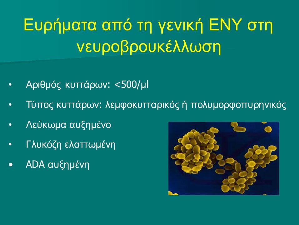 Ευρήματα από τη γενική ΕΝΥ στη νευροβρουκέλλωση Αριθμός κυττάρων : <500/ μ l Τύπος κυττάρων : λεμφοκυτταρικός ή πολυμορφοπυρηνικός Λεύκωμα αυξημένο Γλυκόζη ελαττωμένη ADA αυξημένη