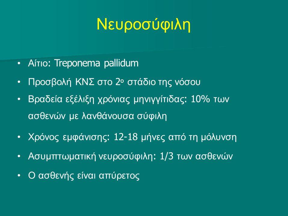 Νευροσύφιλη Αίτιο : Treponema pallidum Προσβολή ΚΝΣ στο 2 ο στάδιο της νόσου Βραδεία εξέλιξη χρόνιας μηνιγγίτιδας : 10% των ασθενών με λανθάνουσα σύφιλη Χρόνος εμφάνισης : 12-18 μήνες από τη μόλυνση Ασυμπτωματική νευροσύφιλη : 1/3 των ασθενών Ο ασθενής είναι απύρετος
