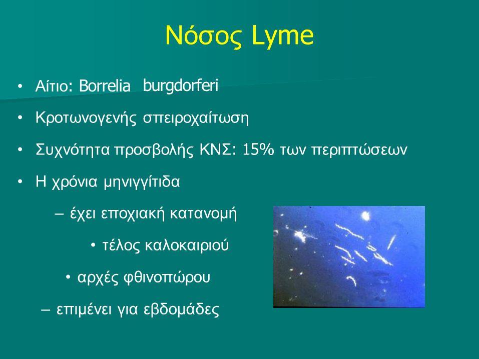 Νόσος Lyme Αίτιο : Borrelia burgdorferi Κροτωνογενής σπειροχαίτωση Συχνότητα προσβολής ΚΝΣ : 15% των περιπτώσεων Η χρόνια μηνιγγίτιδα –έχει εποχιακή κατανομή τέλος καλοκαιριού αρχές φθινοπώρου –επιμένει για εβδομάδες