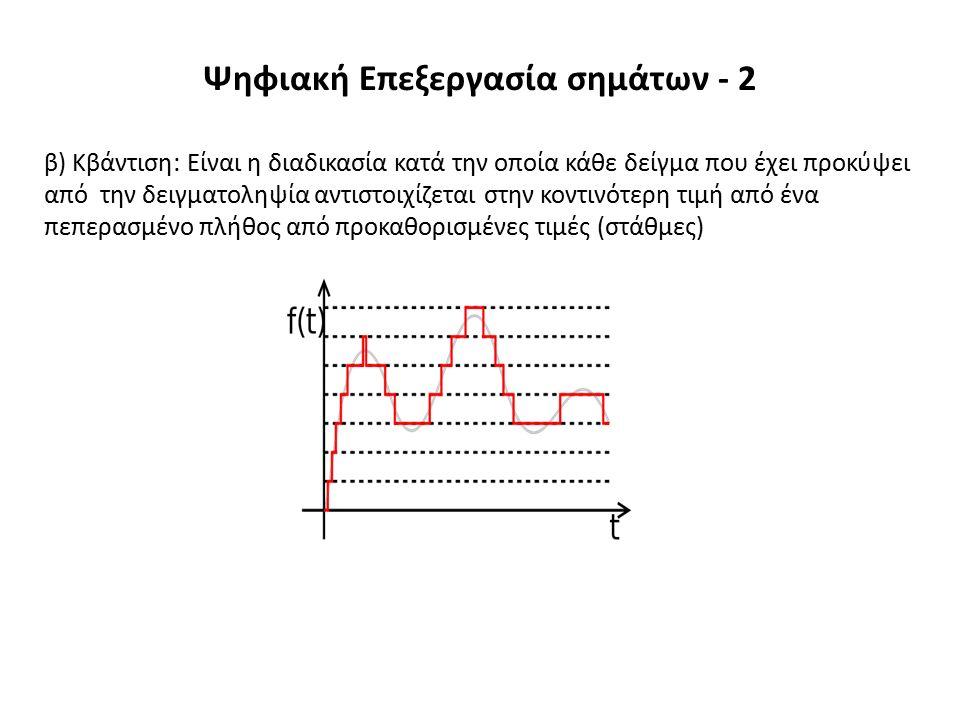 β) Κβάντιση: Είναι η διαδικασία κατά την οποία κάθε δείγμα που έχει προκύψει από την δειγματοληψία αντιστοιχίζεται στην κοντινότερη τιμή από ένα πεπερασμένο πλήθος από προκαθορισμένες τιμές (στάθμες) Ψηφιακή Επεξεργασία σημάτων - 2