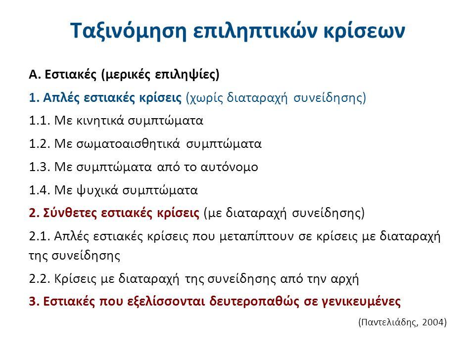 Ταξινόμηση επιληπτικών κρίσεων Α. Εστιακές (μερικές επιληψίες) 1. Απλές εστιακές κρίσεις (χωρίς διαταραχή συνείδησης) 1.1. Με κινητικά συμπτώματα 1.2.