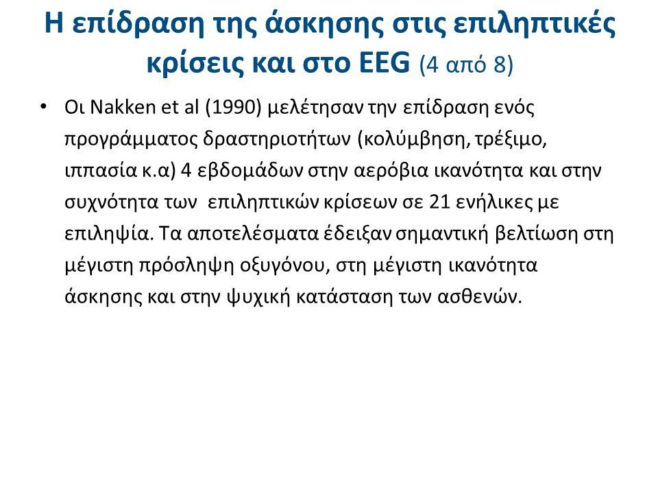 Η επίδραση της άσκησης στις επιληπτικές κρίσεις και στο ΕΕG (4 από 8) Oι Nakken et al (1990) μελέτησαν την επίδραση ενός προγράμματος δραστηριοτήτων (
