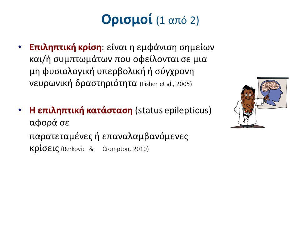 Ορισμοί (2 από 2) Με βάση τον ορισμό της Διεθνούς Επιτροπής Επιληψίας (International League Against Epilepsy - ILAE) το 2005, ως επιληψία ορίζεται η κατάσταση η οποία πληροί και τις τρεις παρακάτω προϋποθέσεις: α) ιστορικό ενός τουλάχιστον επεισοδίου σπασμών β) υπάρχουσα διαταραχή της εγκεφαλικής λειτουργίας που προδιαθέτει για μελλοντική επανεμφάνιση σπασμών γ) συνυπάρχουσες νευροβιολογικές, γνωστικές, ψυχολογικές και κοινωνικές επιπτώσεις στον ασθενή (Fisher et al., 2005)
