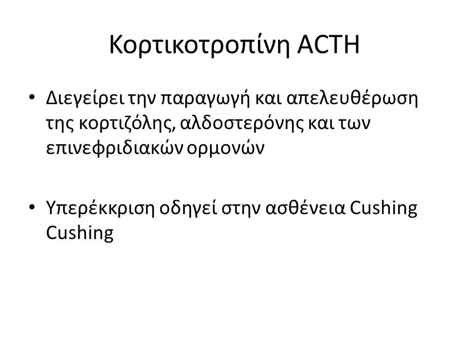 Κορτικοτροπίνη ACTH Διεγείρει την παραγωγή και απελευθέρωση της κορτιζόλης, αλδοστερόνης και των επινεφριδιακών ορμονών Υπερέκκριση οδηγεί στην ασθένεια Cushing Cushing