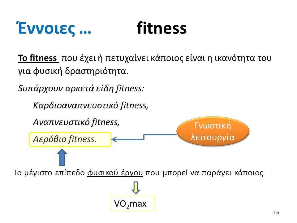 Έννοιες … fitness 16 To fitness που έχει ή πετυχαίνει κάποιος είναι η ικανότητα του για φυσική δραστηριότητα.