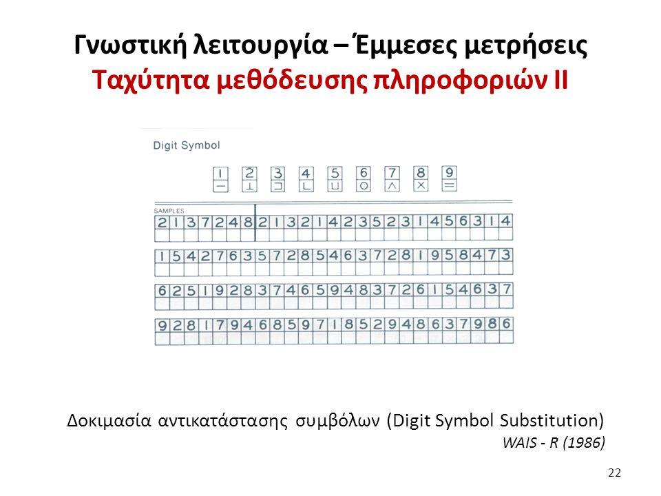 Γνωστική λειτουργία – Έμμεσες μετρήσεις Ταχύτητα μεθόδευσης πληροφοριών II 22 Δοκιμασία αντικατάστασης συμβόλων (Digit Symbol Substitution) WAIS - R (1986)