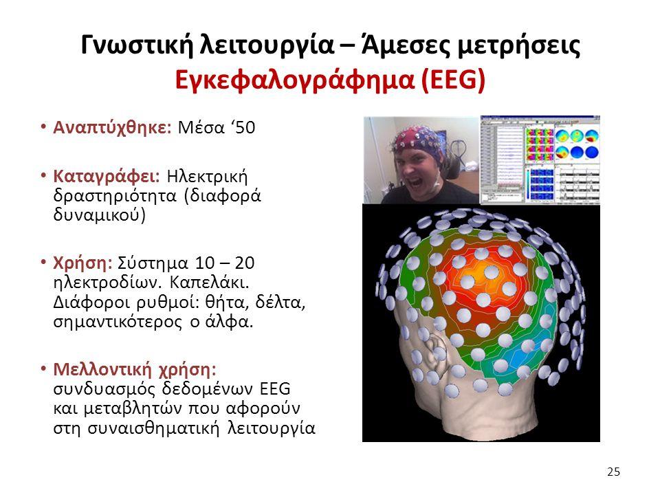 Γνωστική λειτουργία – Άμεσες μετρήσεις Εγκεφαλογράφημα (ΕΕG) Αναπτύχθηκε: Μέσα '50 Καταγράφει: Ηλεκτρική δραστηριότητα (διαφορά δυναμικού) Χρήση: Σύστημα 10 – 20 ηλεκτροδίων.