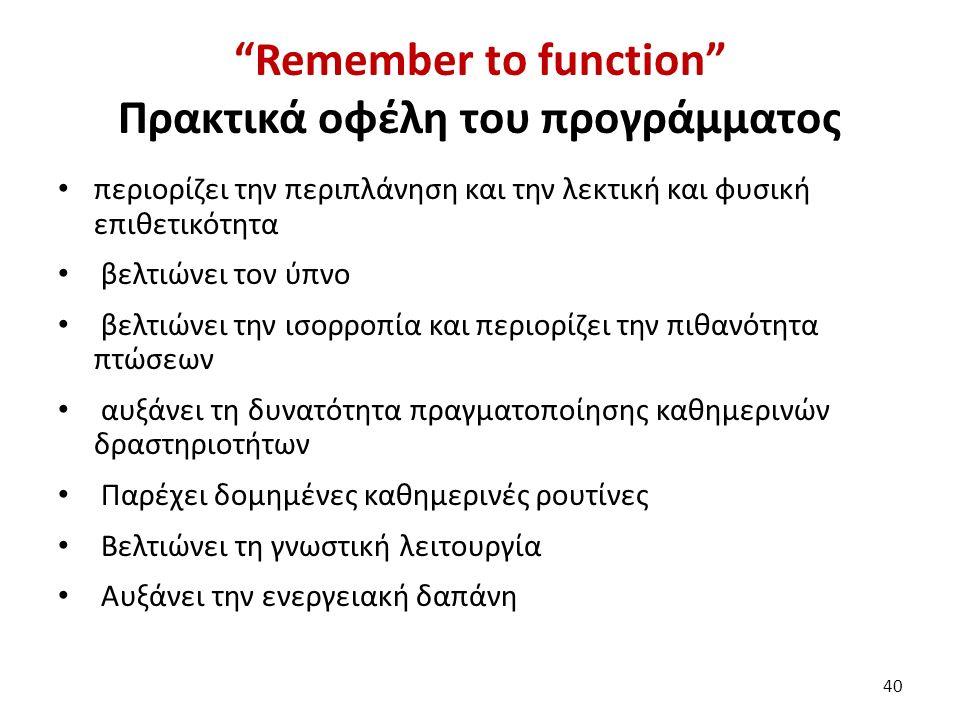 """""""Remember to function"""" Πρακτικά οφέλη του προγράμματος περιορίζει την περιπλάνηση και την λεκτική και φυσική επιθετικότητα βελτιώνει τον ύπνο βελτιώνε"""