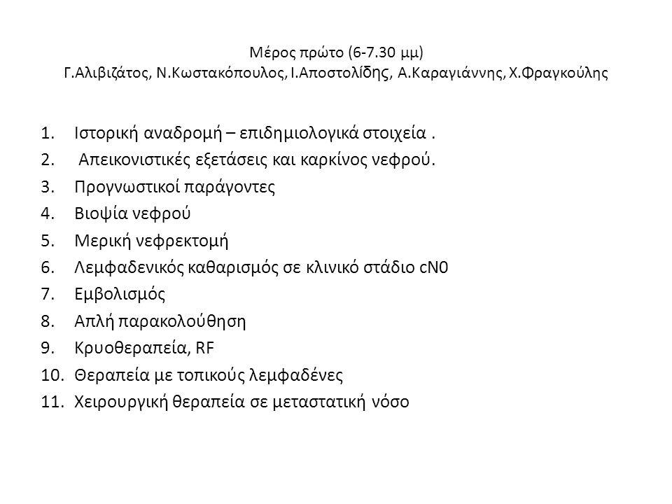 Μέρος πρώτο (6-7.30 μμ) Γ.Αλιβιζάτος, Ν.Κωστακόπουλος, Ι.Αποστολ ίδης, Α.Καραγιάννης, Χ.Φραγκούλης 1.Ιστορική αναδρομή – επιδημιολογικά στοιχεία. 2. Α