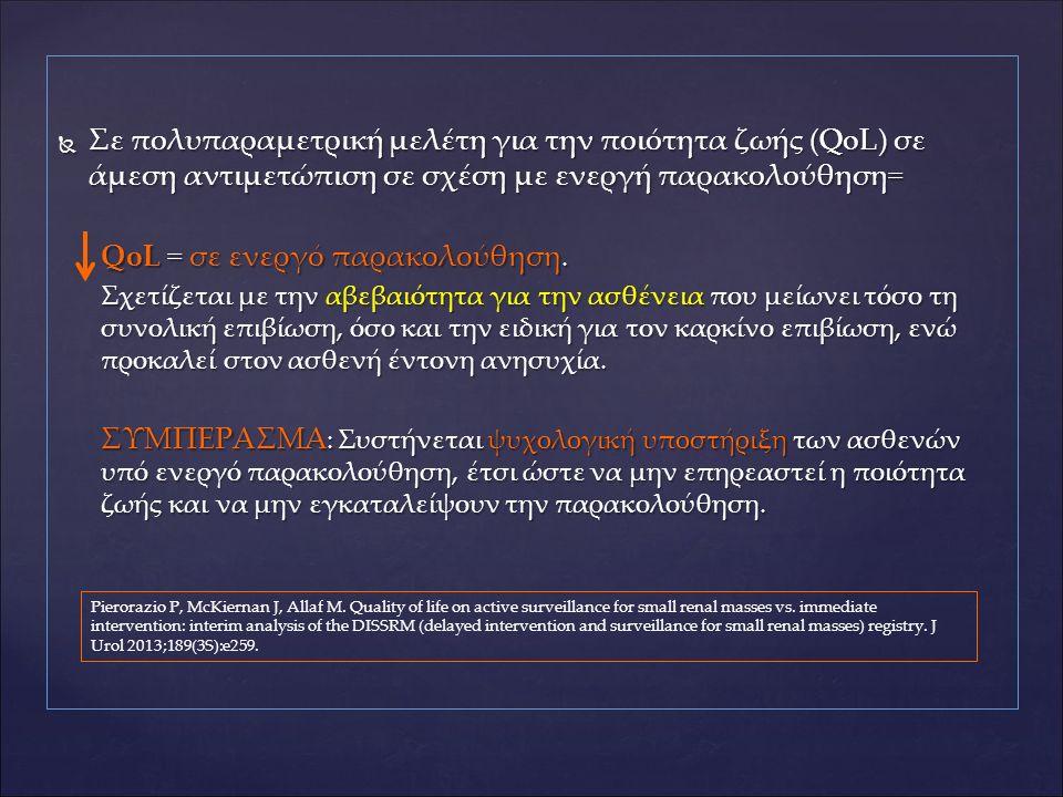  Σε πολυπαραμετρική μελέτη για την ποιότητα ζωής (QoL) σε άμεση αντιμετώπιση σε σχέση με ενεργή παρακολούθηση= QoL = σε ενεργό παρακολούθηση. Σχετίζε