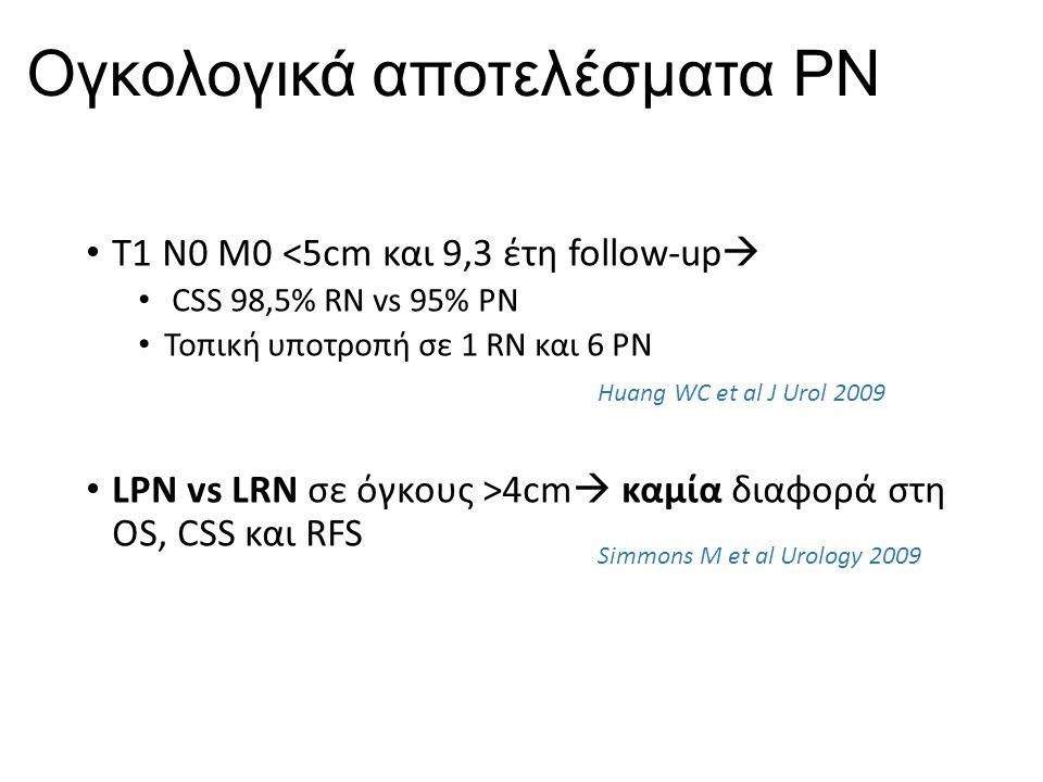 Ογκολογικά αποτελέσματα ΡΝ Τ1 Ν0 Μ0 <5cm και 9,3 έτη follow-up  CSS 98,5% RN vs 95% PN Τοπική υποτροπή σε 1 RN και 6 PN LPN vs LRN σε όγκους >4cm  καμία διαφορά στη OS, CSS και RFS Huang WC et al J Urol 2009 Simmons M et al Urology 2009