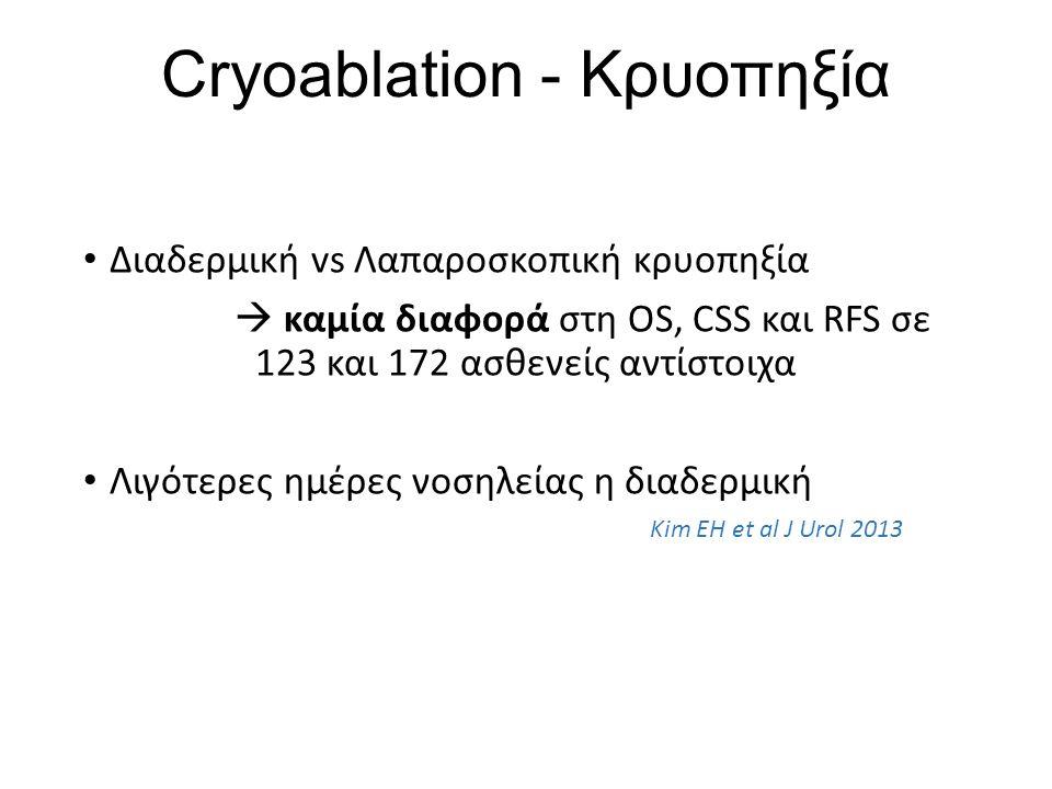 Cryoablation - Κρυοπηξία Διαδερμική vs Λαπαροσκοπική κρυοπηξία  καμία διαφορά στη OS, CSS και RFS σε 123 και 172 ασθενείς αντίστοιχα Λιγότερες ημέρες νοσηλείας η διαδερμική Kim EH et al J Urol 2013