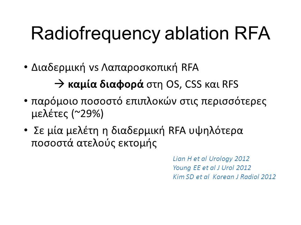 Radiofrequency ablation RFA Διαδερμική vs Λαπαροσκοπική RFA  καμία διαφορά στη OS, CSS και RFS παρόμοιο ποσοστό επιπλοκών στις περισσότερες μελέτες (~29%) Σε μία μελέτη η διαδερμική RFA υψηλότερα ποσοστά ατελούς εκτομής Lian H et al Urology 2012 Young EE et al J Urol 2012 Kim SD et al Korean J Radiol 2012