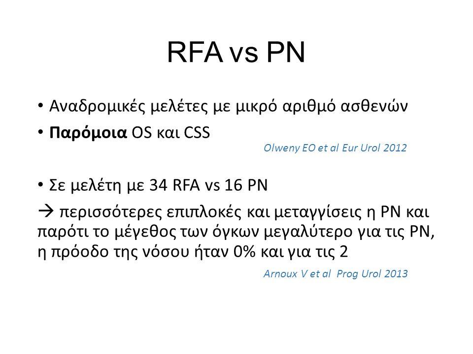 RFA vs PN Αναδρομικές μελέτες με μικρό αριθμό ασθενών Παρόμοια OS και CSS Σε μελέτη με 34 RFA vs 16 PN  περισσότερες επιπλοκές και μεταγγίσεις η PN και παρότι το μέγεθος των όγκων μεγαλύτερο για τις PN, η πρόοδο της νόσου ήταν 0% και για τις 2 Olweny EO et al Eur Urol 2012 Arnoux V et al Prog Urol 2013