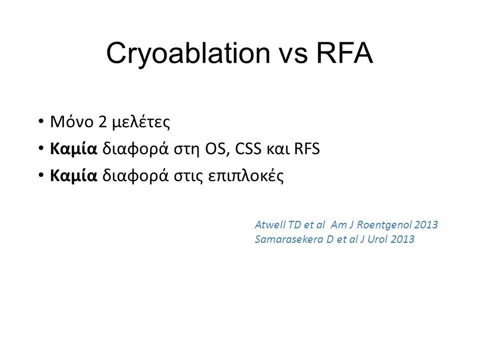 Cryoablation vs RFA Μόνο 2 μελέτες Καμία διαφορά στη OS, CSS και RFS Καμία διαφορά στις επιπλοκές Atwell TD et al Am J Roentgenol 2013 Samarasekera D et al J Urol 2013
