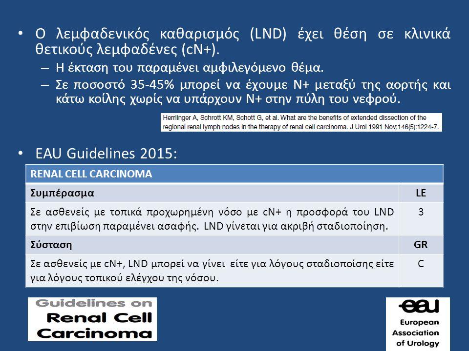 Ο λεμφαδενικός καθαρισμός (LND) έχει θέση σε κλινικά θετικούς λεμφαδένες (cN+).