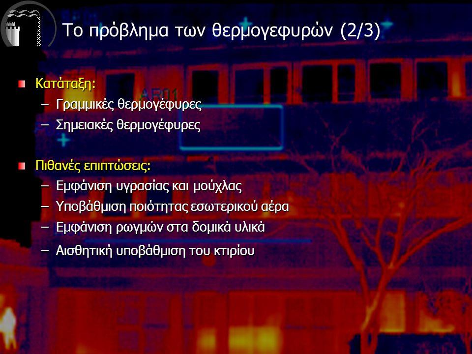 Κατάταξη: –Γραμμικές θερμογέφυρες –Σημειακές θερμογέφυρες Πιθανές επιπτώσεις: –Εμφάνιση υγρασίας και μούχλας –Υποβάθμιση ποιότητας εσωτερικού αέρα –Εμφάνιση ρωγμών στα δομικά υλικά –Αισθητική υποβάθμιση του κτιρίου Το πρόβλημα των θερμογεφυρών (2/3)