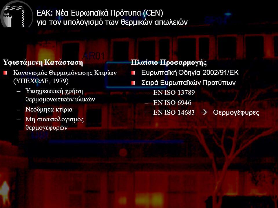 ΕΑΚ: Νέα Ευρωπαϊκά Πρότυπα (CEN) για τον υπολογισμό των θερμικών απωλειών Υφιστάμενη Κατάσταση Κανονισμός Θερμομόνωσης Κτιρίων (ΥΠΕΧΩΔΕ, 1979) –Υποχρεωτική χρήση θερμομονωτικών υλικών –Νεόδμητα κτίρια –Μη συνυπολογισμός θερμογεφυρών Πλαίσιο Προσαρμογής Ευρωπαϊκή Οδηγία 2002/91/ΕΚ Σειρά Ευρωπαϊκών Προτύπων –ΕΝ ISO 13789 –EN ISO 6946 –EN ISO 14683  Θερμογέφυρες