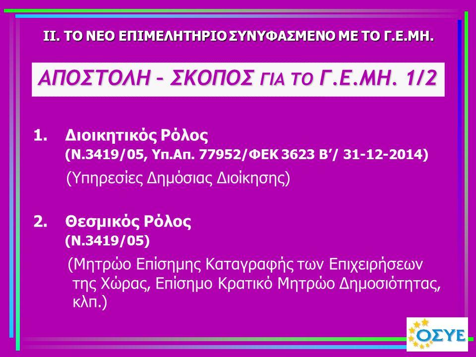 1. Διοικητικός Ρόλος (Ν.3419/05, Υπ.Απ. 77952/ΦΕΚ 3623 Β'/ 31-12-2014) (Υπηρεσίες Δημόσιας Διοίκησης) II. ΤΟ ΝΕΟ ΕΠΙΜΕΛΗΤΗΡΙΟ ΣΥΝΥΦΑΣΜΕΝΟ ΜΕ ΤΟ Γ.Ε.ΜΗ