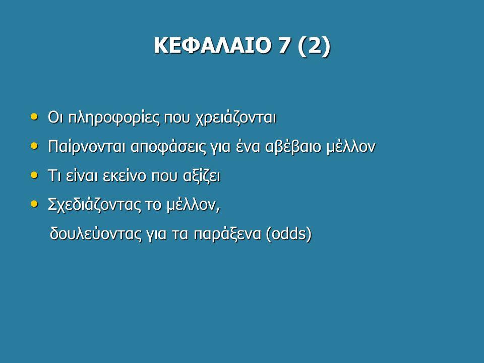 ΚΕΦΑΛΑΙΟ 7 (2) Οι πληροφορίες που χρειάζονται Οι πληροφορίες που χρειάζονται Παίρνονται αποφάσεις για ένα αβέβαιο μέλλον Παίρνονται αποφάσεις για ένα