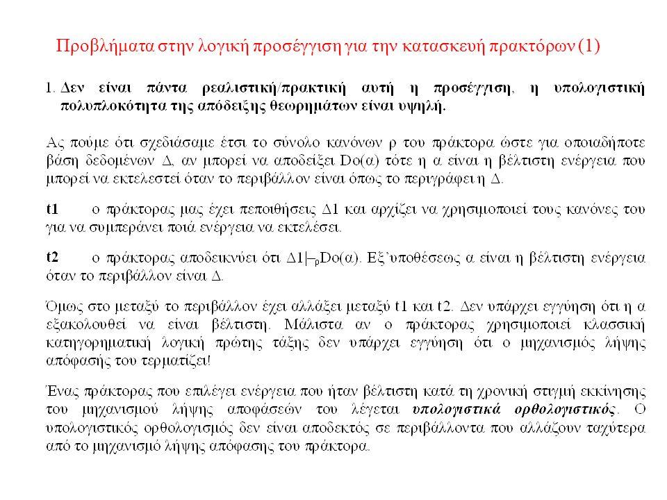 Προβλήματα στην λογική προσέγγιση για την κατασκευή πρακτόρων (1)
